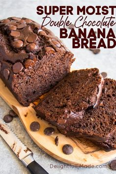 The Best Double Chocolate Banana Bread | My Double Chocolate Banana Bread is the moistest banana bread recipe you'll ever find! This chocolate chip banana bread recipe is made with brown sugar, ripe bananas, and loads of big chocolate chips, making it even better than chocolate cake! If you're looking for a new recipe to make at home, this is a great treat, dessert, or breakfast! || Delightful E Made