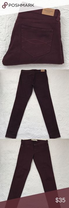 """Abercrombie & Fitch burgundy jeans In great condition. Rise 8"""" inseam 30"""" waist 31.5"""". 99% cotton 1% elastane Abercrombie & Fitch Jeans Skinny"""