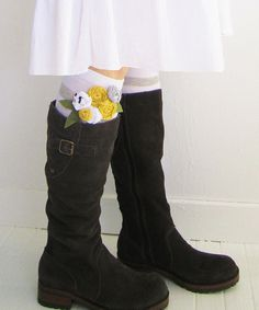 Embellish knee-high socks with fabric rosettes