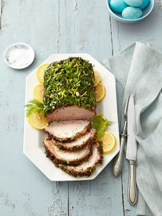 How tasty does this Herb-Crusted Pork Loin look? Slather the meat with a wet rub of dill, green onion, and mustard the night before, then pop in the fridge until it's ready to roast.