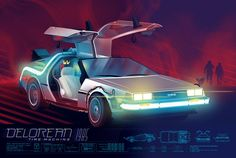"""The Delorean by Kevin Tong. 36""""x24"""" screen print."""
