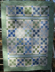Earth and Sky Baby Quilt, so pretty in blues and greens