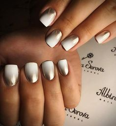 Beautiful inconspicuous manicure in this length nails will certainly not bother you whatever you do. These shades can be easily combined with every outfit. Cold white color is nicely refined with gold.