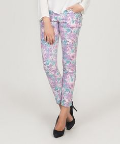 Love this Purple Floral Skinny Jeans by Tantra on #zulily! #zulilyfinds