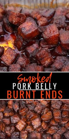 Pork Belly Burnt Ends are so easy to make and the most flavorful and tender smoked meat you could ever want! This is a pork version of burnt ends. recipes Smoked Pork Belly Burnt Ends Traeger Recipes, Smoked Meat Recipes, Beef Recipes, Flap Meat Recipes, Best Food Recipes, Chuck Roast Recipes, Oxtail Recipes, Dry Rub Recipes, Healthy Grilling Recipes