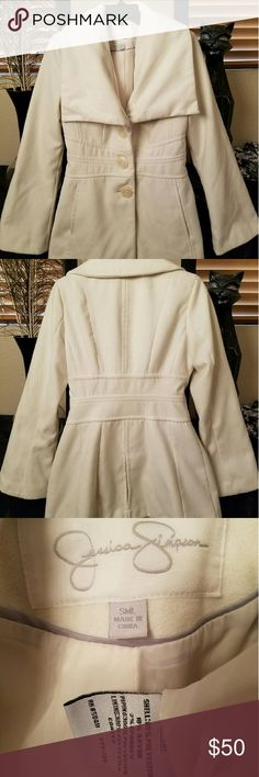 Jessica Simpson Off-White Modern Style Peacoat Jessica Simpson Off-White Modern Style Peacoat. Mid-length & lined. Bonus is it's machine washable because its a polyester/rayon mix which is awesome for those with wool allergy. Worn a couple times, like new. Size small. Jessica Simpson Jackets & Coats Pea Coats