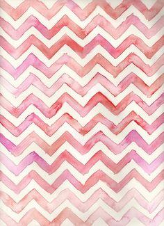 Watercolor Chevron #pink #pattern