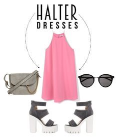 """""""Halter pink"""" by valyagatha ❤ liked on Polyvore featuring MANGO, Yves Saint Laurent and halterdresses"""