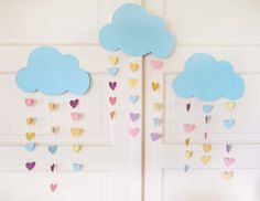 Clouds and heart rain drop party prop. A unique alternative to a banner or garland.