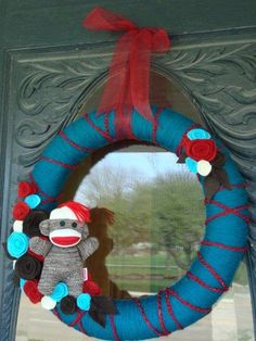 Sock monkey wreath - totally could make this!
