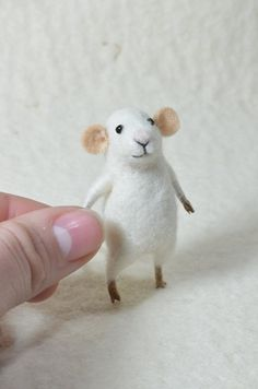 Tiny white Mouse -  needle felted ornament animal, felting dreams. $45.00, via Etsy.