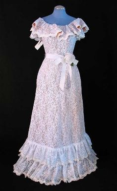 Vintage Victor Costa 1970s ruffled lace dress