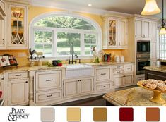 Interior, Beautiful Pictures Of Cottage Style Kitchens Design Shades Of Yellow Accent Walls Color Ideas Country Cottage Kitchen Design With Bay Window And Shabby White Wooden Kitchen Cabinets Using Lapidus Granite Countertop Yellow Country Kitchens, Yellow Kitchen Walls, Country Kitchen Designs, Kitchen Country, Kitchen White, Kitchen Small, Cottage Kitchen Cabinets, Custom Kitchen Cabinets, Kitchen Redo