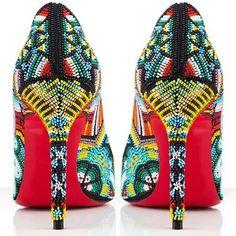 Jaime Ocuma beadwork on Christian Louboutin's red-soled shoes