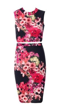 Black Michelle Floral Two Piece - Want That Dress