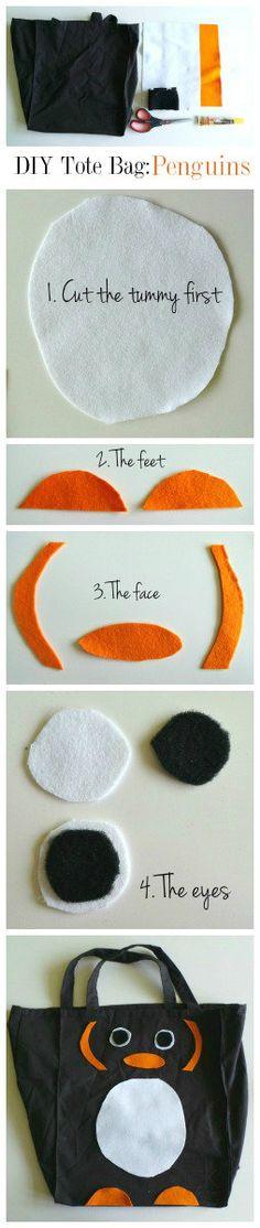 DIY Tote Bag Tutorial: Penguins