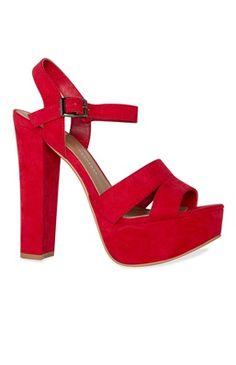 Zapatos De Tacon Grueso Rojos