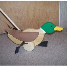 Toy wooden duck waddeling mallard push toy