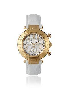 Versace Women's 68C70D498 S001 Reve Chrono Gold/White Leather Watch at MYHABIT