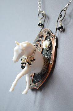 Nightmare Ghost Horse Necklace Made With by dolldisasterdesign