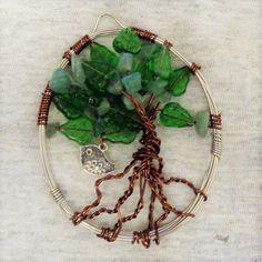 Green Leaves Tree of Life Wire Art Sun Catcher Crystal // Wire Window Decor // Silver Bird Charm