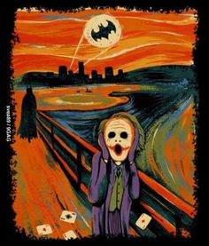 This art piece by artist depicts The Joker in the foreground with a scattered set of aces as Batman, The Dark Knight, approaches; Gotham City is silhouetted in the cityscape with the Bat Signal looming in the blood-red sky. Le Joker Batman, Joker And Harley Quinn, Joker Art, The Joker, Batman Humor, Superhero Humor, Real Batman, Funny Batman, Funny Joker
