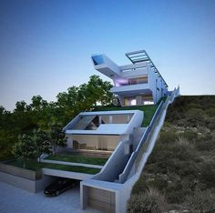Cliff House by Wix user & Architect Katerina Likopoulou Architecture Design, Sustainable Architecture, Amazing Architecture, Villa Design, Modern House Design, Home Building Design, Building A House, Building Map, Houses On Slopes