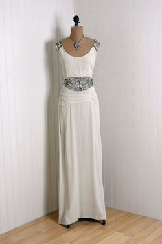 Couture Evening Gown: 1930's, lightweight silk crepe, jeweled accents.