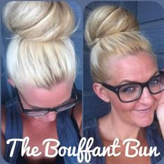 The bouffant bun hair tutorial. Super quick and easy, great for day after hair (i.e. you went out last night and need to look chic the next day but have no time) Curled Hairstyles, Pretty Hairstyles, Hairstyle Ideas, Bouffant Bun, Updo, Messy Curls, Curls Hair, Hair Buns, Up Dos
