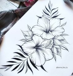 Bee And Flower Tattoo, Tropical Flower Tattoos, Hawaii Flower Tattoos, Floral Tattoo Design, Flower Tattoo Designs, Pretty Tattoos, Cute Tattoos, Wolf Tatoo, Borboleta Tattoo
