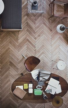This chevron floor reminds me of the floor my old school gym, and I love it