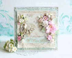 Ślubnie :) Altered Canvas, Shabby Chic Cards, Beautiful Handmade Cards, Vintage Crafts, Collage, Scrapbook Cards, Scrapbooks, Wedding Cards, Cardmaking