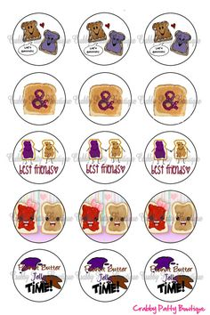 Peanut Butter and Jelly Bottle Cap Images 1 by rmlemay on Etsy, $1.75