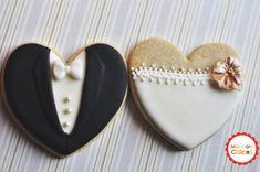 Orchid Bride and Groom Wedding Favor Cookies- 1 Dozen (6 Pair Set)- Cookie Favors, Wedding Cookies, Bridal Shower Cookies