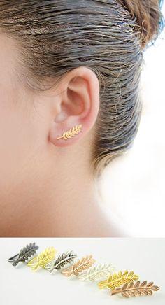 leaf ear cuffs by lunaijewelry