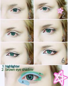 Hey! Here's the anime eye makeup tutorial I promised ! I tried to keep it fairly simple. Ps my skin is not this smooth irl. Also I didn't have lighter contacts for Noiz so this is the best I could do for now! 1~ Bare eyes/ brows. 2~ Base shadowing and highlighting. Extend the shadow over and a little past your eyelid crease and add some shadow at the corner of your eye. Highlighting your eyelid can make your crease stand out more. (I also did basic brows)
