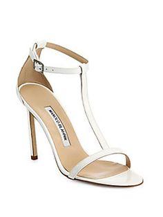 Manolo Blahnik - Spence Patent Leather T-Strap Sandals