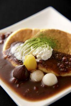 Japanese Pancakes with Sweet Azuki Bean Sauce, Shiratama Rice Dumplings, and Matcha Green Tea Powder