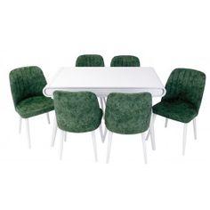 Set masa living Vegas Alba cu scaune de culoare verde Living, Dining Table, Furniture, Home Decor, Green, Decoration Home, Room Decor, Dinner Table, Home Furnishings
