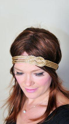Nautical Knot Headband Gold Knot Headband Knot Headwrap Women Fashion Girly Romantic Mothers Day gift under 25