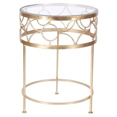 Round chamapagne silver leaf side table with beveled glass top.