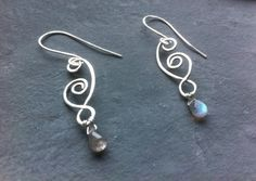 Sterling silver hammered earrings labradorite by Elementarymagic