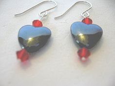 'Hematite Heart & Swarovski Earrings' is going up for auction at  9am Sun, Jun 17 with a starting bid of $3.