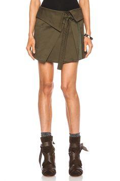 Isabel Marant Jaci Cotton Satin Skirt in Khaki | FWRD