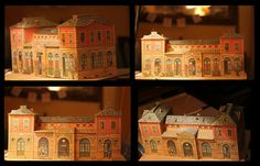 Miniature paper buildings.