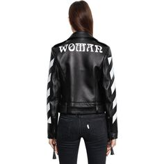 Off White Women Stripes & Woman Leather Biker Jacket featuring polyvore women's fashion clothing outerwear jackets snap jacket leather motorcycle jacket moto jacket striped leather jacket striped jacket
