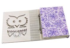 Personalized Owl wooden cover notebook A5 lined ruled pages. Refillable sketchbook on coil staples by ZabavaBox