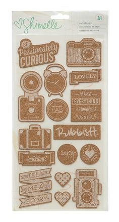 American Crafts  Shimelle  Cork Stickers  16 by SharBearCrafts, $3.99