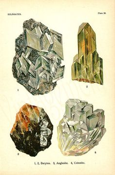 Vintage 1911 Minerals Print Antique Gems Precious Stones print gemstones print, bookplate art print, minerals wall print wall art ($18.50) - Svpply
