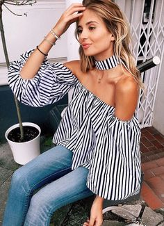 CEKE Casual Off Shoulder Striped Blouse Shirt Sexy Halter Lantern Sleeve Blouse Women Tops 2017 Cool Blusas Shoulder Off, Shoulder Shirts, Chemises Sexy, Sexy Bluse, Look Fashion, Womens Fashion, Fashion Design, Beach Fashion, Cheap Fashion